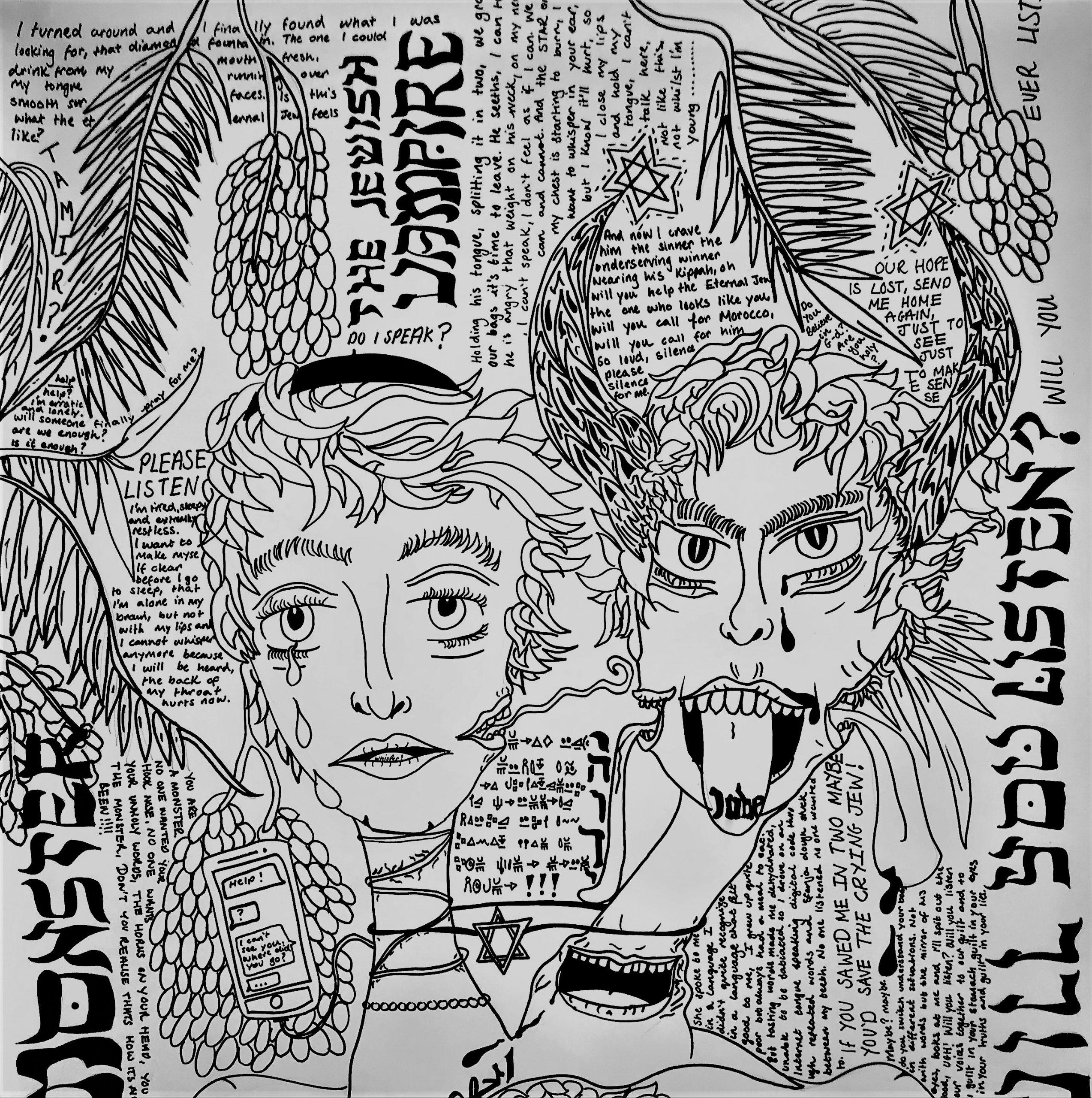 Tamir Amar Pettet, Jew Boy, 186cm x 84cm, Paint Pen on Paper, October 2019 (detail)