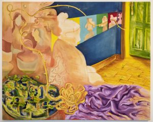 A blend of styles come together to create this montage composition. In the center of the painting is a silhouette of a faceless woman in profile. She is painted in peach with veins visible along her back. In the foreground, at the bottom of the painting, is a tangled yellow vine and a creased purple fabric. The yellow vine leads from the form to the lower left corner filled with miniature trees clustered together. The vine moves upward to the upper left corner of an abstract scene of faceless people in a cafe. The yellow vine continues to the background, along a dark blue wall. The wallpaper includes individual yellow, blue, green, red, and purple squares with a silhouette of a Disney character on each one. In the upper right corner is a green door. The vine wraps around the wooden door frame into a glowing light. The door is slightly ajar. Seedlings poke through cracks in the floor in the room.