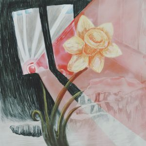 A yellow flower faces upwards, growing out of a green stem. Behind, red light from a siren floods through a window. The walls behind the flower and framing the window are black.