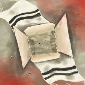 The viewer looks down on an open Chinese take-out pail, which appears submerged in water. Flies float around the water, both within and outside the pail. A tallit stretches under the pail from the top-left to bottom-right of the illustration. Red tones fill the opposite corners.