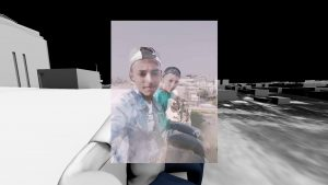 A selfie of two Palestinian teenagers, Luai Kahil and Amir al-Nimrah, is superimposed on a digitally constructed landscape of gray objects and formations. In the selfier, the teenagers sit side by side, turning their torsos toward the camera. Some white buildings in the background are perceptible.