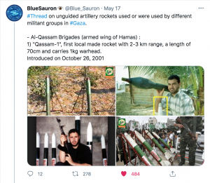 """Screenshot of Tweet. The Tweet reads: """"#Thread on unguided artillery rockets used or were used by different militant groups in #Gaza. - Al-Qassam Brigades (armed wing of Hamas): 1)"""