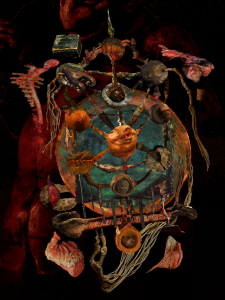 A lopsided structure reminiscent of the kabbalistic tree of life built from non-objective snippets of found images, with a dark, womb-like ambiance. Glimpses of the composition's influences - the faces of anti-semitic statues, the spines of burned books, internal organs, and tzitzit - are visible amongst the otherwise abstract forms which comprise the tree.