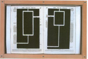 Two pages of a Talmud (Tractate Pesachim). The text is completely covered in black crayon ink except for a handful of white lines (uncrayoned portions of the page) that mark entry and exit points into the main body of text.