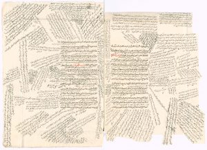 A double-page manuscript of an Arabic-language legal codex covered in marginal and interlinear notes. The notes fan out from the center of the double-page containing the text of the codex itself. The notes appear in different sizes, handwritings, and inks. There are two portions of the codex text that are red.