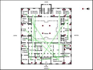 """A digital sketch on a map of the Taswir exhibition rooms in the Gropius-Bau Berlin. The map shows the """"Madrasa"""" at the center surrounded by 18 small rooms, each labeled with that room's exhibition theme. 10 lime green lines are drawn across the map connecting pairs of rooms around the """"Madrasa."""""""