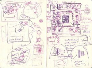 A notebook page with purple scribbles outlining the design of the Taswir exhibition. The sketched design in the upper-right corner resembles an earlier stage of the digital map of the Taswir exhibition in the composer's notebook above. Various overlapping and concentric circles as well as adjoining squares and rectangles fill the rest of the page.