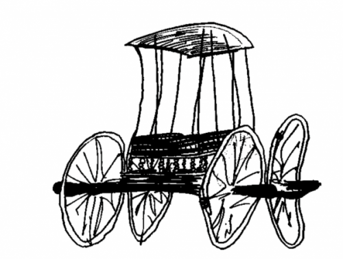 A black-and-white illustration of a primitive chariot made entirely of wood. The chariot has four large wheels and a carriage on top. The illustration is drawn sloppily and appears somewhat distorted.